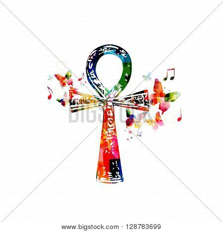 Vector illustration of colorful Egyptian cross Ankh with butterflies