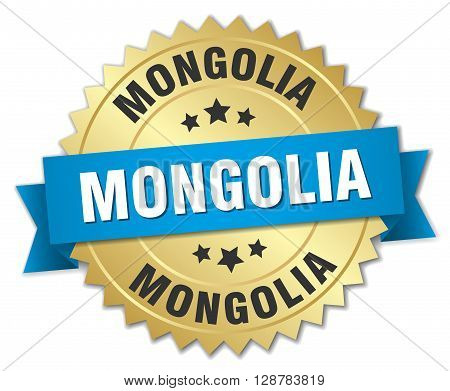 Mongolia round golden badge with blue ribbon
