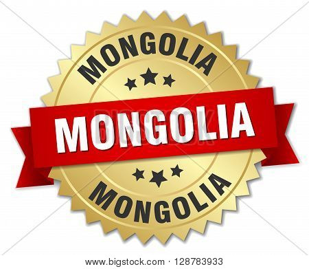 Mongolia round golden badge with red ribbon