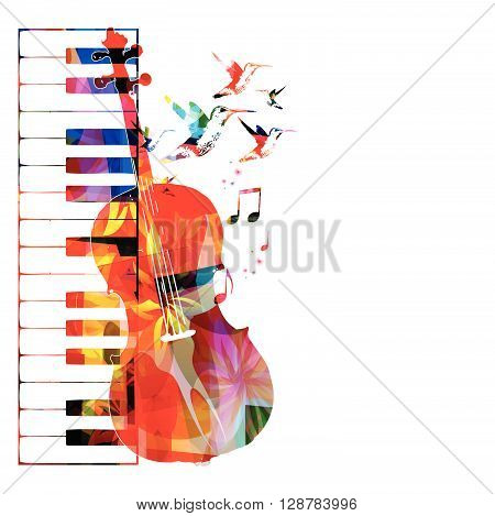 Vector illustration of colorful music instruments with hummingbirds