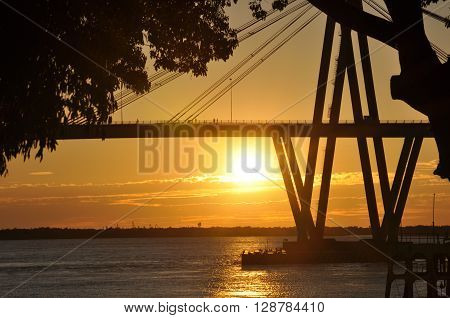 Costanera, Bridge General Belgrano Over Parana River, Corrientes, Argentina