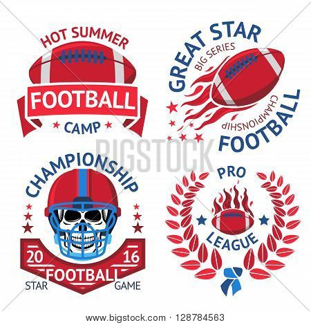 Set of american football labels with american football ball, burning ball, scull in helmet, laurel. Vector illustration