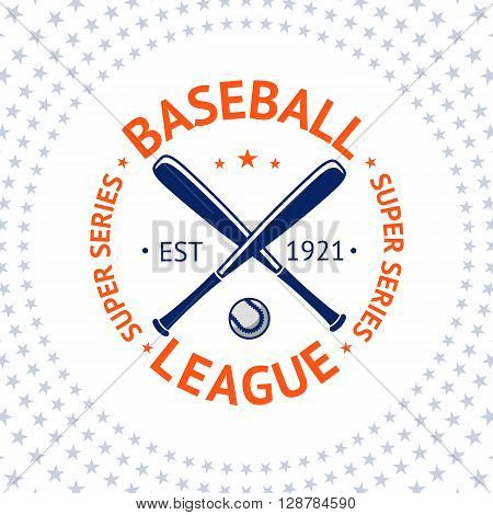 Old style Baseball Label with ball and bats. Vector illustration
