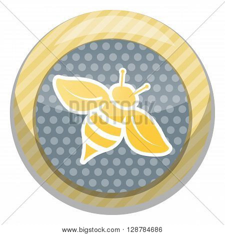 Bee colorful icon. Bee cartoon style vector illustrations