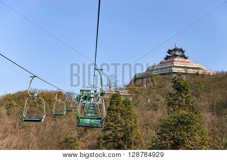 Zhangjiajie China - MARCH 01 2016 : Cable car way on tianmen mountain Zhangjiajie Hunan China