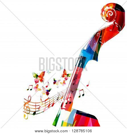 Colorful violoncello pegbox with butterflies. Vector illustration