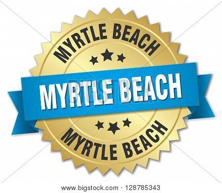 Myrtle Beach round golden badge with blue ribbon