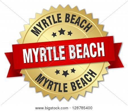 Myrtle Beach round golden badge with red ribbon