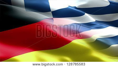 Waving flag of Germany and Greece, eurozone crisis