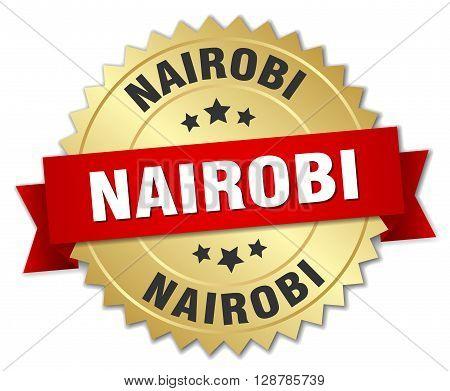 Nairobi round golden badge with red ribbon