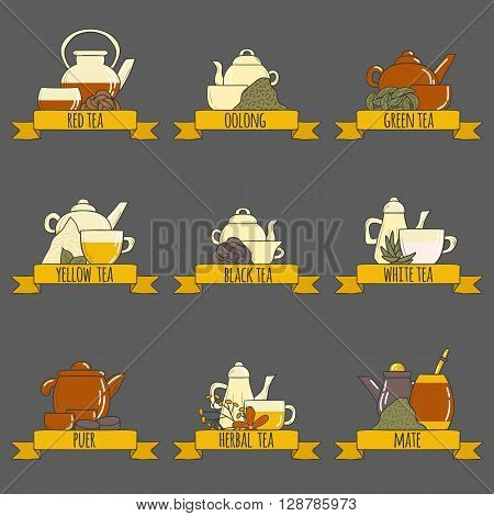 Tea ceremony vector set with teapots and cups in cartoon hand drawn style. Kinds of tea: green red yellow puer black. Vector chinese asian culture concept. Logo or card design for tea ceremony
