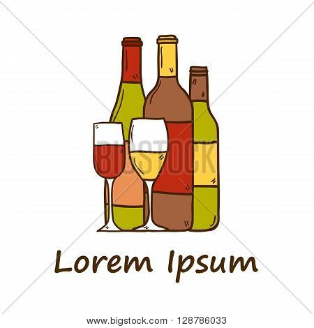 Wine concept with bottles and glasses in hand drawn style