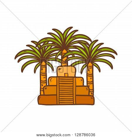 Illustration with cartoon hand drawn aztec pyramid and palms. Old aztec mayan civilization concept. Mexico latin america travel. Aztec culture and heritage. Mexico tourism cartoon background