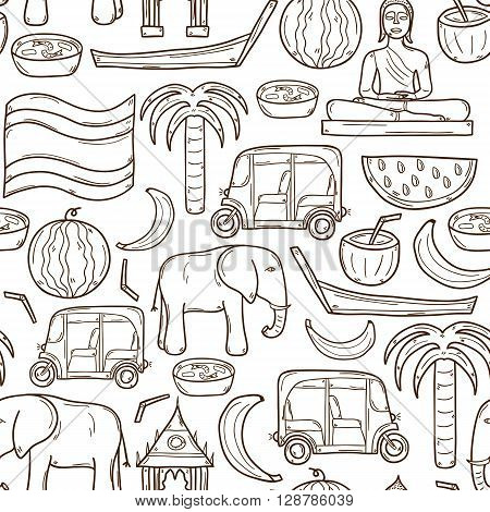Illustration with hand drawn cartoon cute Thailand objects. Asia or Thailand travel concept: elephant palm Buddha car boat. Illustration with seamless Thailand background