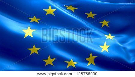 EU flag euro flag flag of european union waving yellow star on blue background