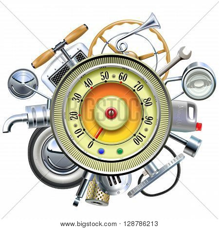 Vector Retro Car Parts with Speedometer isolated on white background