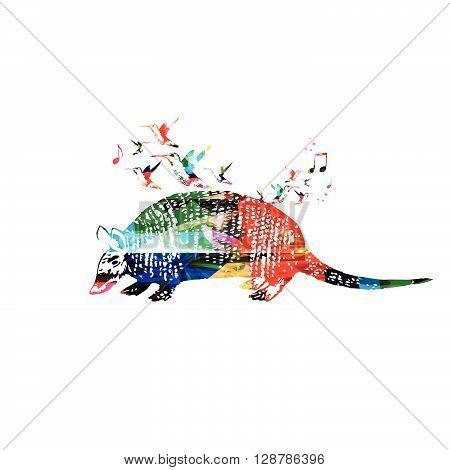 Vector illustration of colorful armadillo with hummingbirds