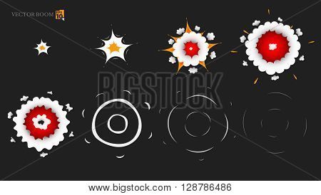 Vector elements to create an animation of a small explosion.