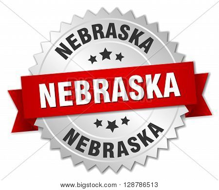 Nebraska round silver badge with red ribbon