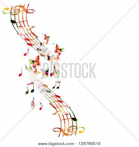 Vector illustration of colorful music notes with butterflies