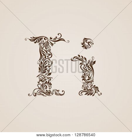 Handsomely decorated letter i in upper and lower case.