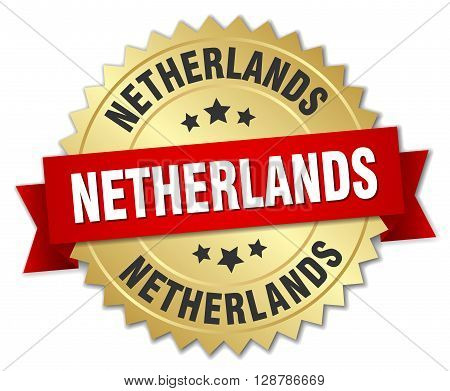 Netherlands round golden badge with red ribbon