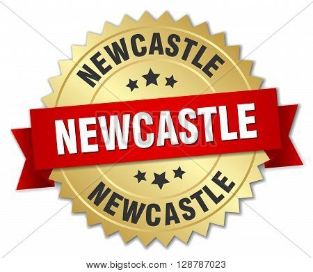 Newcastle round golden badge with red ribbon