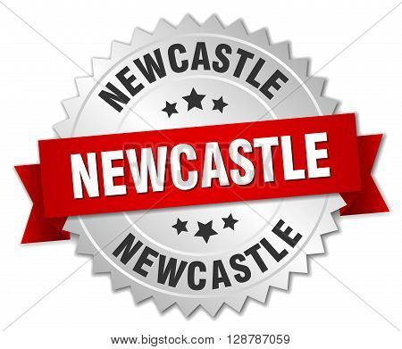 Newcastle round silver badge with red ribbon