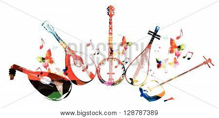 Group of music instruments with butterflies. Vector illustration