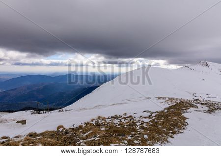 Winter Landscape Over Carpathian Mountains, Romania. Stunning Winter Scenery In Carpathian Mountains