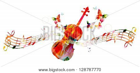 Colorful violoncello with music notes. Vector illustration