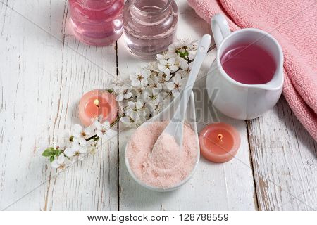 Pink spa set: liquid soap, towel and rose sea salt