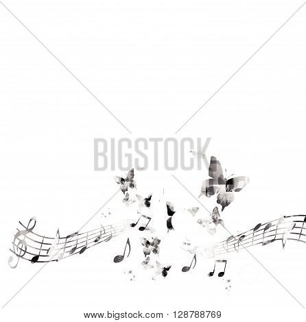 Music notes background with butterfly. Vector illustration