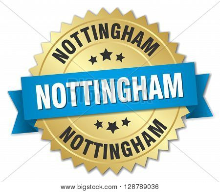 Nottingham round golden badge with blue ribbon