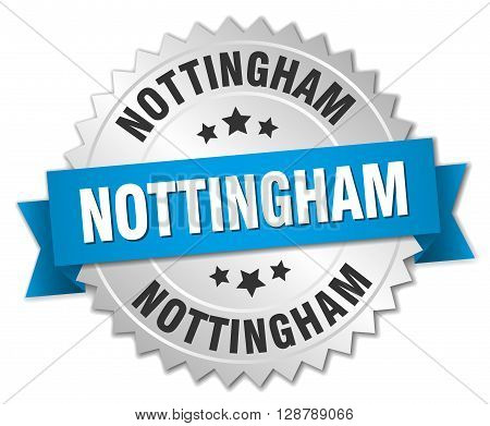 Nottingham round silver badge with blue ribbon