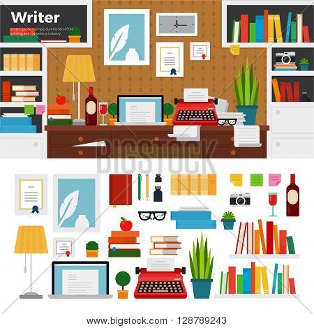 Writer working place vector flat illustrations. Writer cabinet interior with books, papers and computer. Computer, typewriter, pens, vine, lamp isolated on white background