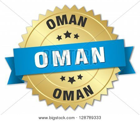 Oman round golden badge with blue ribbon