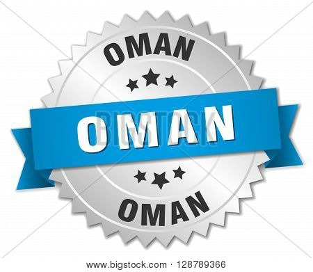 Oman round silver badge with blue ribbon