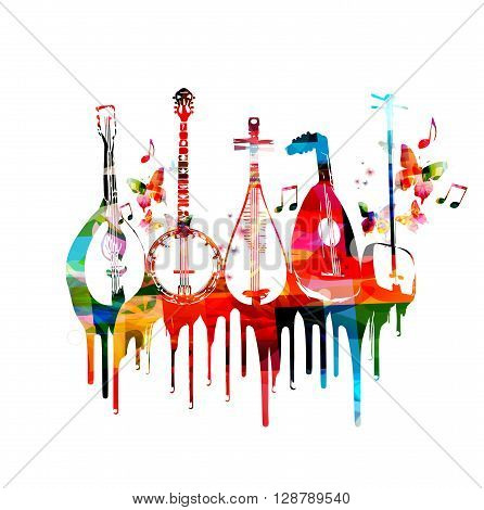Group of music instruments with butterflies. Vector
