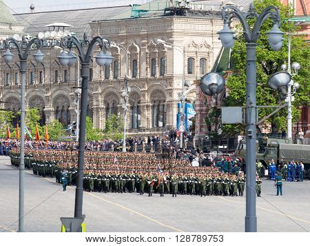 Moscow - May 6 2016: A lot of the military lined up in rows and are marching during the final rehearsal of the Victory Parade on Red Square on May 6 2016 Moscow Russia