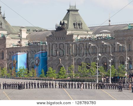 Moscow - May 6 2016: A lot of the military lined up in ranks during the dress rehearsal of the parade on Red Square on May 6 2016 Moscow Russia