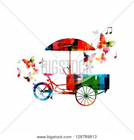 Vector illustration of colorful rickshaw with butterflies