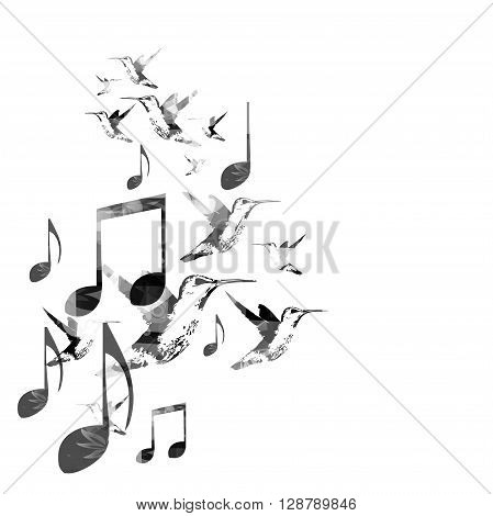 Music notes background with hummingbirds. Vector illustration