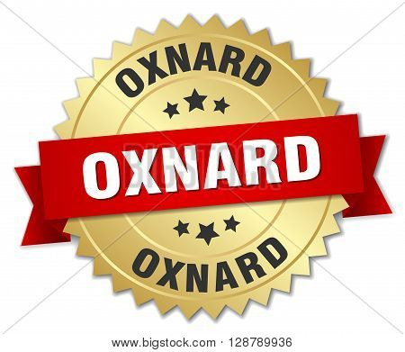 Oxnard round golden badge with red ribbon