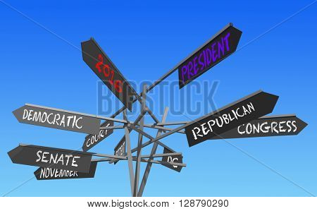 election 2016 choice conceptual post, 3D rendering