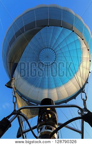 Bottom view in air-filled air balloon and a gas burner