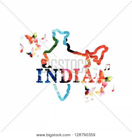 Vector illustration of colorful map of India with butterflies