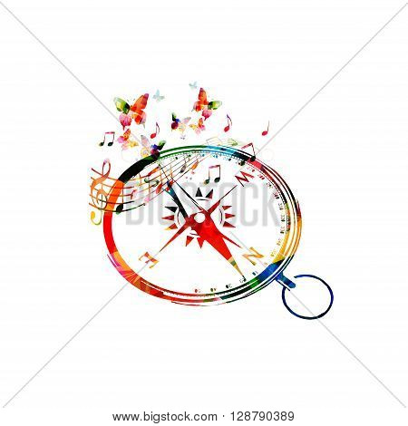 Vector illustration of colorful compass with butterflies