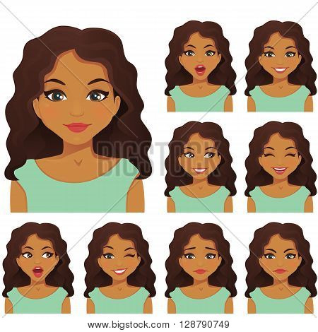 Cute woman with different facial expressions set