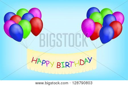 Happy birthday balloons with banner. Colorful balloons with happy birthday banner. Happy birthay sign on a banner with bright balloons. Yellow happy birthday banner.